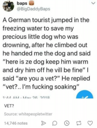 "Fucking, Precious, and Water: baps  @BigDaddyBaps  A German tourist jumped in the  freezing water to save my  precious little dog who was  drowning, after he climbed out  he handed me the dog and said  ""here is ze dog keep him warm  and dry him off he vill be fine"" I  said ""are you a vet?"" He replied  ""vet?.. I'm fucking soaking""  VET?  Source: whitepeopletwitter  4,746 notes D"