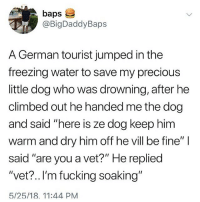 "Fucking, Memes, and Precious: baps  @BigDaddyBaps  A German tourist jumped in the  freezing water to save my precious  little dog who was drowning, after he  climbed out he handed me the dog  and said ""here is ze dog keep him  warm and dry him off he vill be fine""  said ""are you a vet?"" He repliec  ""vet? ..I'm fucking soaking""  5/25/18. 11:44 PM"