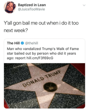 Dank, Lean, and Memes: Baptized in Lean  @JuiceTooWavie  Y'all gon bail me out when i do it too  next week?  The Hill@thehil  Man who vandalized Trump's Walk of Fame  star bailed out by person who did it years  ago: report hill.cm/F3f69cG If this turns into a challenge by mentalstarvation FOLLOW HERE 4 MORE MEMES.