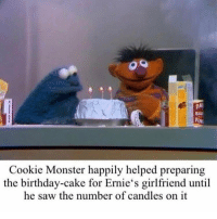 Birthday, Cookie Monster, and Memes: BAR  Cookie Monster happily helped preparing  the birthday-cake for Ernie's girlfriend until  he saw the number of candles on it Best part of senior year is that there's a huge snow storm and I don't need to make up any of the snow days 🤪🤪