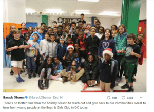 Club, Girls, and Obama: Barack Obama@BarackObama Dec 14  There's no better time than the holiday season to reach out and give back to our communities. Great to  hear from young people at the Boys & Girls Club in DC today  50K Former President Barack Obama gives this school a visit 3