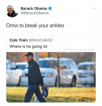 @fakecelebritytweet is the best new page on instagram and it isn't even close: Barack Obama  @BarackObama  Omw to break your ankles  Cole Train @NickCole33  Where is he going lol  G: FakeCelebrityTweet @fakecelebritytweet is the best new page on instagram and it isn't even close