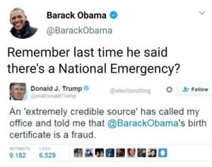 😫 Send the National Guard to Hawaii . . . . . trump democrats democrat peace usa memes whitehouse savagememes obama democrats barackobama republicans republican senate this exactly wow republicans savage cool notcool stupid savage immigration immigrants justice buildthewall weekend mexican mexico securetheborder racism racist: Barack Obama  @BarackObama  Remember last time he said  there's a National Emergency?  Donald J. Trump  @realDonaldTrump  @electorotting  #trFollow  An 'extremely credible source' has called my  office and told me that @BarackObama's birth  certificate is a fraud.  RETWEETSLIKES  9,182.  6,529  髬蹣炅圃翮姴跽稳。 😫 Send the National Guard to Hawaii . . . . . trump democrats democrat peace usa memes whitehouse savagememes obama democrats barackobama republicans republican senate this exactly wow republicans savage cool notcool stupid savage immigration immigrants justice buildthewall weekend mexican mexico securetheborder racism racist