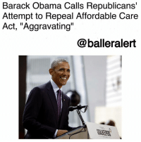 "Memes, Obama, and Barack Obama: Barack Obama Calls Republicans'  Attempt to Repeal Affordable Care  Act, ""Aggravating  @balleralert Barack Obama Calls Republicans' Attempt to Repeal Affordable Care Act, ""Aggravating""-blogged by @thereal__bee ⠀⠀⠀⠀⠀⠀⠀⠀⠀ ⠀⠀ When it comes to the current state of the country, many of us try to remain optimistic. But recently, even former president BarackObama had to admit how fed up he is with some of these issues. ⠀⠀⠀⠀⠀⠀⠀⠀⠀ ⠀⠀ On Wednesday, Obama spoke during a ceremony held by the Bill and Melinda Gates Foundation about the Republicans' recent attempts to repeal the Affordable Care Act. ⠀⠀⠀⠀⠀⠀⠀⠀⠀ ⠀⠀ ""When I see people trying to undo that hard-earned progress for the 50th or 60th time, with bills that would raise costs or reduce coverage, or roll back protections for older Americans or people with pre-existing conditions … for whom coverage would, once again, be almost unobtainable, it is aggravating,"" Obama said. ""And all of this being done without any demonstrable economic or actuarial or plain common-sense rationale, it frustrates me."" ⠀⠀⠀⠀⠀⠀⠀⠀⠀ ⠀⠀ ""And it's certainly frustrating to have to mobilize every couple of months to keep our leaders from inflicting real human suffering on our constituents, but typically that's how progress is won and how progress is maintained,"" he continued. ⠀⠀⠀⠀⠀⠀⠀⠀⠀ ⠀⠀ The GOP Congress is not backing down when it comes to this issue though. They are currently trying to pass a bill proposed by Sens. Lindsey Graham (R-SC) and Bill Cassidy (R-La.). The proposal is intended to repeal and replace the ACA with a new health care system that would be detrimental to millions, especially those with serious medical illnesses. ⠀⠀⠀⠀⠀⠀⠀⠀⠀ ⠀⠀ What do you think about Obama's statement?"