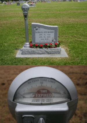 "sixpenceee: Barbara Sue Manire had a great sense of humor and always used to say that when she died she wanted a parking meter on her grave that says ""Expired."" So her nephew got her one. She said that her grave is right by the road so everyone can see it and many people have stopped to get a chuckle. (Source)   This kinda makes me wanna write a story about someone who is constantly putting money into a parking meter so they live, and they live for like centuries, but one day they cant (have to do something else eg saving the world or they run out of money) and it just suddenly says expired and they die.: BARBARA SUE MANIRE  APR. 29. 1941  APR. 29, 2005  OuR monm  HER HUMOR IES 0n   TIME LIMIT  64 YEAR  TME  EXPIRED sixpenceee: Barbara Sue Manire had a great sense of humor and always used to say that when she died she wanted a parking meter on her grave that says ""Expired."" So her nephew got her one. She said that her grave is right by the road so everyone can see it and many people have stopped to get a chuckle. (Source)   This kinda makes me wanna write a story about someone who is constantly putting money into a parking meter so they live, and they live for like centuries, but one day they cant (have to do something else eg saving the world or they run out of money) and it just suddenly says expired and they die."