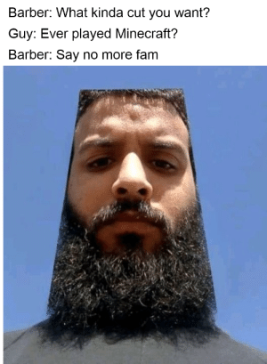 Barber, Fam, and Minecraft: Barber: What kinda cut you want?  Guy: Ever played Minecraft?  Barber: Say no more fam Minecraft is a game about placing blocks