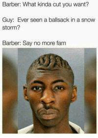 Barber, Fam, and Snow: Barber: What kinda cut you want?  Guy: Ever seen a ballsack in a snow  storm?  Barber: Say no more fam