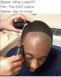 Barber, Funny, and Lol: Barber: What u want?!!  Him: The 2020 Lebron  Barber:  Say no more! Tag a shitty barber lol