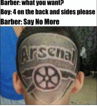 Haha 😂😭 🔺LINK IN OUR BIO!! 😎🔥: Barber: What you want  Boy: 4 on the back and sides please  Barber: Say No More Haha 😂😭 🔺LINK IN OUR BIO!! 😎🔥