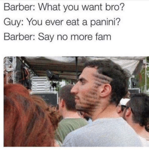 Barber, Fam, and Say No More: Barber: What you want bro?  Guy: You ever eat a panini?  Barber: Say no more fam wait? what? panini?