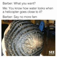 Barber, Fam, and Memes: Barber: What you want?  Me: You know how water looks when  a helicopter goes close to it?  Barber: Say no more fam  SEE  MORE 😂😂😂  (via See More)