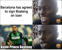 Barcelona, Memes, and Prince: Barcelona has agreed  to sign Boateng  on loan  FCB  TrollFootball  TheFootballTroll  Kevin Prince Boateng  FC B Not the one they wanted 😂👏