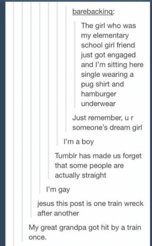 That one time everyone was wrong about everything. | 17 Tumblr Posts That Are Just An Absolute Fucking Mess: barebacking:  The girl who was  my elementary  school girl friend  just got engaged  and I'm sitting here  single wearing a  pug shirt and  hamburger  underwear  Just remember, u r  someone's dream girl  I'm a boy  Tumblr has made us forget  that some people are  actually straight  I'm gay  jesus this post is one train wreck  after another  My great grandpa got hit by a train  once That one time everyone was wrong about everything. | 17 Tumblr Posts That Are Just An Absolute Fucking Mess