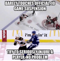 Hockey, Memes, and National Hockey League (NHL): BARELTOUCHESOFFICIALD10  GAME SUSPENSION  gic  I'm  in it  TRNTOSERIOUSLYDNIUREA  PLAYERANO PROBLEM Good to see the NHL takes better care of their refs than their actual players. You should never touch a ref but this is ridiculous @NHL nhl hockey refs anaheimducks bostonbruins tampabaylightning