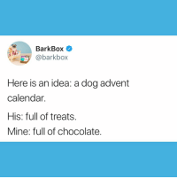 Memes, Shark, and Calendar: BarkBox  @barkbox  Here is an idea: a dog advent  calendar.  His: full of treats.  Mine: full of chocolate Brb going on Shark Tank to make this a thing. My ask is $800k for 10% Equity 🦈 innovator sharktank genius