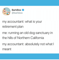 I am currently investing in a 401K9 🐶💸 What's your retirement plan? DaveRamseyPleaseHelp: BarkBox  @barkbox  my accountant: what is your  retirement plan  me: running an old dog sanctuary in  the hills of Northern California  my accountant: absolutely not what l  meant I am currently investing in a 401K9 🐶💸 What's your retirement plan? DaveRamseyPleaseHelp