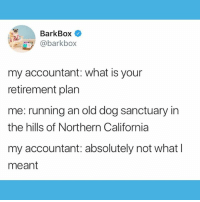 It's a 401(k9) 😂😂😂: BarkBox  @barkbox  my accountant: what is your  retirement plan  me: running an old dog sanctuary in  the hills of Northern California  my accountant: absolutely not what l  meant It's a 401(k9) 😂😂😂