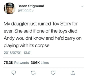 whitepeopletwitter:  Morbid.: Baron Stigmund  @stiggib3  My daugjter just ruined Toy Story for  ever. She said if one of the toys died  Andy wouldnt know and he'd carry on  playing with its corpse  2018/07/01, 13:01  75,3K Retweets 306K Likes whitepeopletwitter:  Morbid.