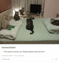 """Memes, 🤖, and The Doors: barrenwonderland  """"this doesn't concern you Robert please close the door  the ashley Clements Source: derpycats  631,994 notes"""