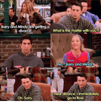 Memes, Divorce, and 🤖: Barry and Mindy are getting a  What is the matter with you?!  divorce  Nor Barry and Mindy  DAILYFRIENDSCAPS  16x151  hear divorce, l immediately  Oh. Sorry  go to Ross. Hilarious 😂😂 (TYSMMM for 34k ily guys!! 😍❤️🎉) • friends friendstv friendsshow friendsseries friendstvshow friendstvseries