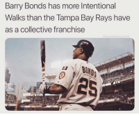 Barry Bonds: Barry Bonds has more Intentional  Walks than the Tampa Bay Rays have  as a collective franchise  @bushleaque101