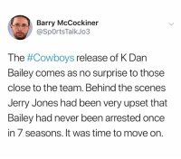 Dallas Cowboys, Nfl, and Time: Barry McCockiner  @SpOrtsTalkJo3  The #Cowboys release of K Dan  Bailey comes as no surprise to those  close to the team. Behind the scenes  Jerry Jones had been very upset that  Bailey had never been arrested once  in 7 seasons. It was time to move on. 😂