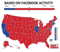 Meanwhile...: BASED ON FACEBOOK ACTIVITY  Clinton 116  422 Trump  OR  10  so  NE  INIOH  20 ff 18  CA  55  KS  VA  CT  KINJ  AZ  MSI AL GA  MD  270回DC  S WIN  Split Electoral Votes  NC ICO  国11回  HI  FL 29  M6  MN to  TX 38  HA 12 Meanwhile...