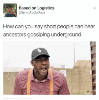 Memes, 🤖, and Underground: Based on Logistics  @iam Abdul Axis  How can you say short people can hear  ancestors gossiping underground 😂😂🙄🙄 shut up