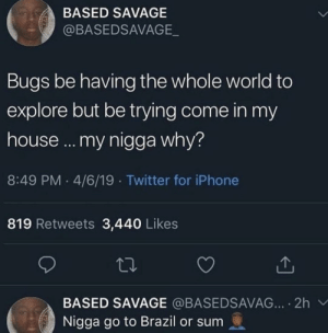 Them dumbass bugs be migrating by JesusHellaGayLOL MORE MEMES: BASED SAVAGE  @BASEDSAVAGE  Bugs be having the whole world to  explore but be trying come in my  house... my nigga why?  8:49 PM 4/6/19 Twitter for iPhone  819 Retweets 3,440 Likes  BASED SAVAGE @BASEDSAVAG... 2h  Nigga go to Brazil or sum Them dumbass bugs be migrating by JesusHellaGayLOL MORE MEMES