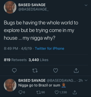 flies still decide to fly in my kitchen smh (via /r/BlackPeopleTwitter): BASED SAVAGE  @BASEDSAVAGE  Bugs be having the whole world to  explore but be trying come in my  house ... my nigga why?  8:49 PM 4/6/19 Twitter for iPhone  819 Retweets 3,440 Likes  BASED SAVAGE @BASEDSAVAG... 2h  Nigga go to Brazil or sum  t96  6  1,336 flies still decide to fly in my kitchen smh (via /r/BlackPeopleTwitter)