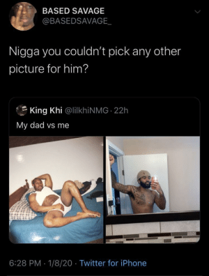 Whole lotta Something strange about the Johnsons vibes by Kunta_no_Kinte MORE MEMES: BASED SAVAGE  @BASEDSAVAGE_  Nigga you couldn't pick any other  picture for him?  King Khi @lilkhiNMG 22h  My dad vs me  6:28 PM · 1/8/20 · Twitter for iPhone Whole lotta Something strange about the Johnsons vibes by Kunta_no_Kinte MORE MEMES