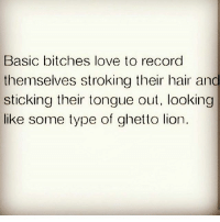 Ghetto, Love, and Memes: Basic bitches love to record  themselves stroking their hair and  sticking their tongue out, looking  C.  me type of ghetto lion On the snap acting a fool..😏😂😂