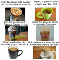 🐸☕: Basic, Starbucks Gold member,  will run miles later to burn it off  Vegan, yoga enthusiast,  weighs less than 120,  fuck diet, ages below 21  Shops at Forever 21, hoe occasionally, Stairmaster  orders thru app, eats donuts  DUNKIN  CONUTS  io Pthegan  9-5 job, watches her diet, High maintenance, wears her hee  decent booty, good with her $ everywhere, wants a rich dude 🐸☕
