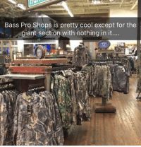 "Memes, Bass Pro Shops, and Cool: Bass Pro Shops is pretty cool except for the  giant section with nothing in it... More empty shelves! 😂 Like & Comment ""F"" 6 times letter by letter for a follow back!! (First 500)"