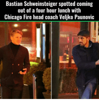 Chicago, Soccer, and Chicago Fire: Bastian Schweinsteiger spotted coming  out of a four hour lunch with  Chicago Fire head coach Veljko Paunovic Would you like to see Bastian in America?
