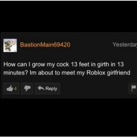 robloxs: Bastion Main69420  Yesterday  How can I grow my cock 13 feet in girth in 13  minutes? Im about to meet my Roblox girlfriend