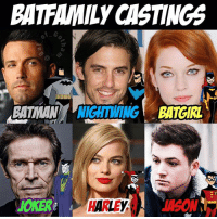 Batman, Children, and Creepy: BATFAMILY CASTINGS  BATMANNIGHTWING BATGIRL  JOKER  HREASN  HARLEY As requested here are some of my bat family dream castings! I've always wanted Milo to play dick grayson it's just perfect imo. I think Jane levy would also fit the role of Batgirl very well! Yes I recasted joker get over it. People wanted me to so I did. It should be a crime that no one has offered the role of the joker to Willem Dafoe yet. I would keep Harley the same because I think she still has some potential! And lastly I want Taron Egerton as Jason Todd! Yes I know that picture is of Tim drake but I had to use it Because Jason wasn't in the animated series. I also left out Tim drake because I don't think they should do that many robins. It's kinda creepy that a 44 year old man keeps recruiting children. That's just my take on it! 👏🔥👏👏👏👏👏👏 . . What do you think? 🤔🤔🤔🤔🤔Feel free to comment and share just give credit! . . . . . . . . . . justiceleague batfamily batman superman flash willemdafoe aquaman benaffleck ezramiller jasonmomoa galgadot taronegerton bvs batmanvsuperman zacksnyder suicidesquad wonderwoman janelevy miloventimiglia mattreeves dc dceu dccomics dcuniverse nightwing brucetimm batgirl jasontodd redhood fancast