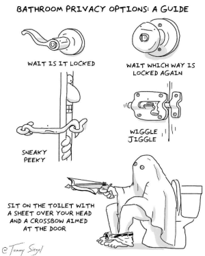 bathroom privacy options: a guide [OC]: BATHROOM PRIVACY OPTIONS: A GULDE  WAIT IS IT LOCKED  WAIT WHLCH WAY IS  LOCKED AGAIN  WIGGLEII  JIGGLE  SNEAKY  PEEKY  SLT ON THE TOLLET WLTH  A SHEET OVER YOUR HEAD  AND A CROSSBOW ALMED  AT THE DOOR  Sieg  Onim bathroom privacy options: a guide [OC]