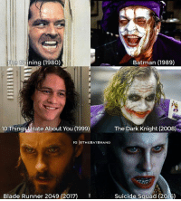 Complete this sentence: @jaredleto's joker is....: Batman (1989)  The Shining (1980)  10 Things Hate About You (999)  The Dark Knight (2008)  IG IOTHEBATBRAND  Y  Blade Runner 2049 (2017)  Suicide Squad (2016) Complete this sentence: @jaredleto's joker is....