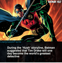 Do you think he's right? 🤔 _ Fact by @blazefacts _ batman brucewayne thedarkknight nightwing redhood redrobin robin dickgrayson jasontodd timdrake damianwayne dc dccomics dcfacts dailygeekfacts: BATMAN' #617  DailyGeekFacts  During the 'Hush' storyline, Batmain  suggested that Tim Drake will one  day become the world's greatest  detective Do you think he's right? 🤔 _ Fact by @blazefacts _ batman brucewayne thedarkknight nightwing redhood redrobin robin dickgrayson jasontodd timdrake damianwayne dc dccomics dcfacts dailygeekfacts