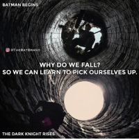 Batman, Fall, and Memes: BATMAN BEGINS  OOTHEBATBRAND  OTHEBATBRAND  WHY DO WE FALL?  SO WE CAN LEARNTO PICK OURSELVES UP.  THE DARK KNIGHT RISES This is probably one of my favorite quotes of all time. Comment below your favorite. - Inspired by @dccomics1938