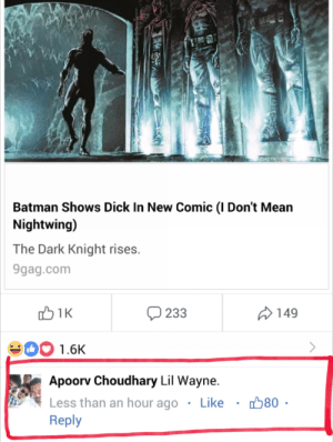 9gag, Batman, and Dank: Batman Shows Dick In New Comic (I Don't Mean  Nightwing)  The Dark Knight rises.  9gag.com  233  149  00 1.6K  Apoorv Choudhary Lil Wayne.  Less than an hour ago . Like ·  Reply  80 Alfred wants to know his location by FatBoyChunk MORE MEMES