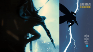 Batman, Superman, and Videos: BATMAN  THE DFK KNIGHT RETURKS.  FRANK MILLER  MTH  KLAUS JANSON  AND  LYN VARLEY  BOOK ONE $2.95  $450 IN CANADA  DC This shot from Batman v Superman: Dawn of Justice (2016) is a tribute to Frank Miller's The Dark Knight Returns. Special thank to 'Twin Perfect' YouTube channel for his awesome videos on Man of Steel and Bvs.