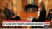 "Conway, Memes, and Ups: BATTLE FOR THE WHITE HOUSE  UP CLOSE WITH TRUMP'S CAMPAIGN MANAGER  5:52 PM PT  AC360° ""It is still possible to win."" In the few short months since becoming Donald J. Trump's campaign manager, Kellyanne Conway has become a constant fixture on television. http://cnn.it/2eMIA71"