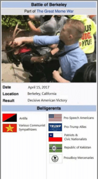 The Third Battle of Berkeley!: Battle of Berkeley  Part of The Great Meme War  US  Date  Location Bekley, California  Result  April 15, 2017  Decisive American Victory  Belligerents  Antifa  Various Communist  Sympathizers  Pro-Speech Americans  Pro-Trump Allies  Patriots &  TRUMP  Civic Nationalists  Republic of Kekistan  Prou  Proudboy Mercenaries The Third Battle of Berkeley!