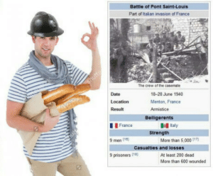Andrew Bogut, Bailey Jay, and Date: Battle of Pont Saint-Louis  Part of Italian invasion of France  The crew of the casemate  Date  Location  Result  18-28 June 1940  Menton, France  Armistice  Belligerents  France  9 men 110  | 9 prisoners l18  Italy  More than 5,000 117)  At least 200 dead  Strength  Casualties and losses  More than 600 wounded La no Báguêtte-Power