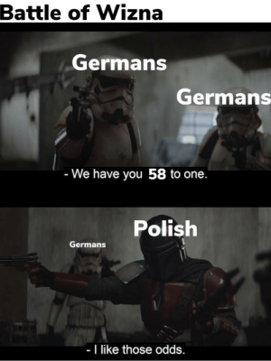 Soldiers, History, and German: Battle of Wizna  Germans  Germans  - We have you 58 to one.  Polish  Germans  - I like those odds. When 720 Polish soldiers fought against 42 200 German soldiers