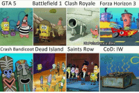 COD is done, if you wasn't playing it in its golden era RIP to you😴: Battlefield 1 Clash Royale Forza Horizon 3  GTA 5  OD  GoPolarSaurus Rex  Crash Bandicoot Dead Island Saints Row  CoD: IW COD is done, if you wasn't playing it in its golden era RIP to you😴