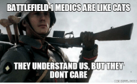 Can't argue with that.: BATTLEFIELD 1 MEDICS ARE LIKECATS  THEY UNDERSTAND US, BUT THEY  DONT CARE  MEMEFUL COM Can't argue with that.