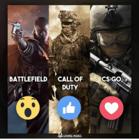 Choose one: BATTLEFIELD  CALL OF  DUTY  MGAMING MEMES  CS:GO Choose one